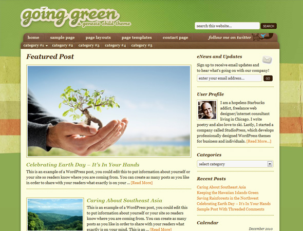 Going Green Child Theme for Genesis Framework