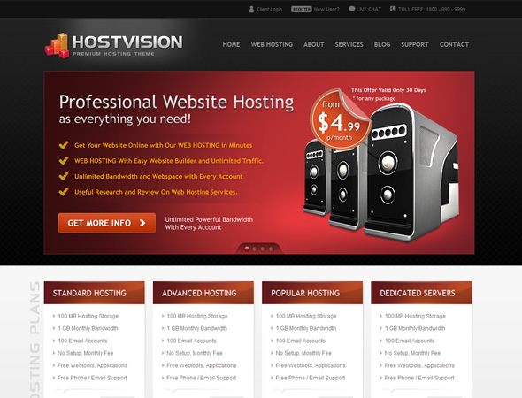 HOSTVISION - Premium Hosting Theme - 4 Colors