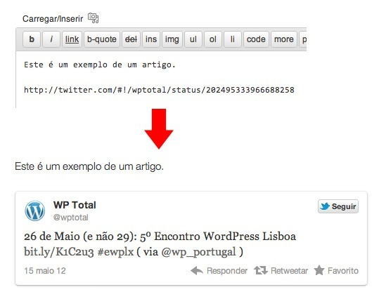 Wordpress 3.4 - Embed Tweets